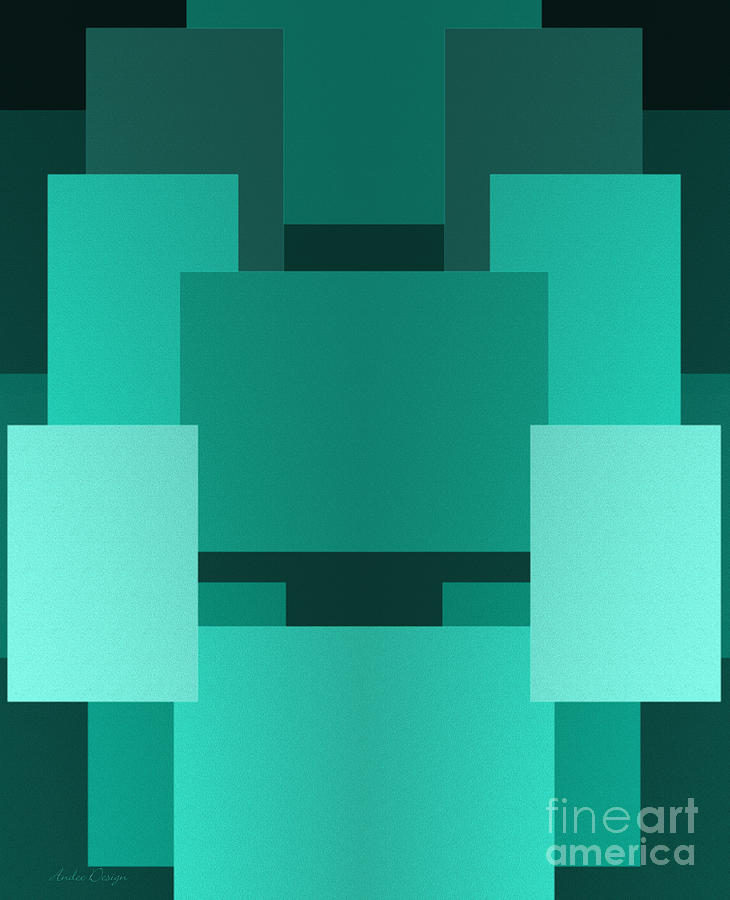 Abstract Digital Art - Teal On Teal 10 by Andee Design