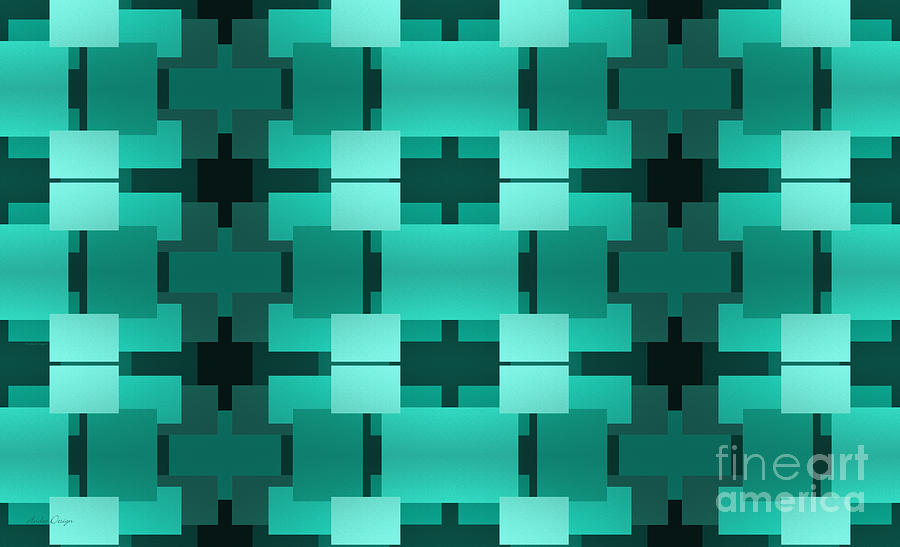 Abstract Digital Art - Teal On Teal 17 by Andee Design