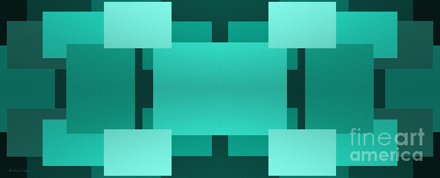 Abstract Digital Art - Teal On Teal 6 by Andee Design