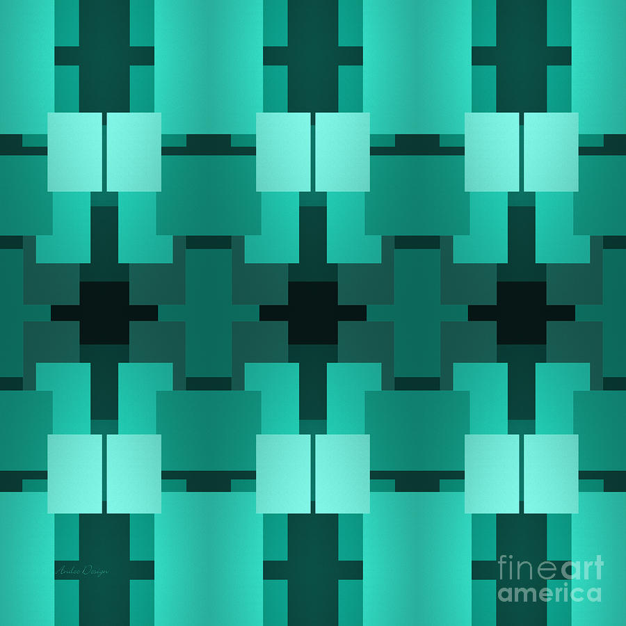 Abstract Digital Art - Teal On Teal 8 by Andee Design