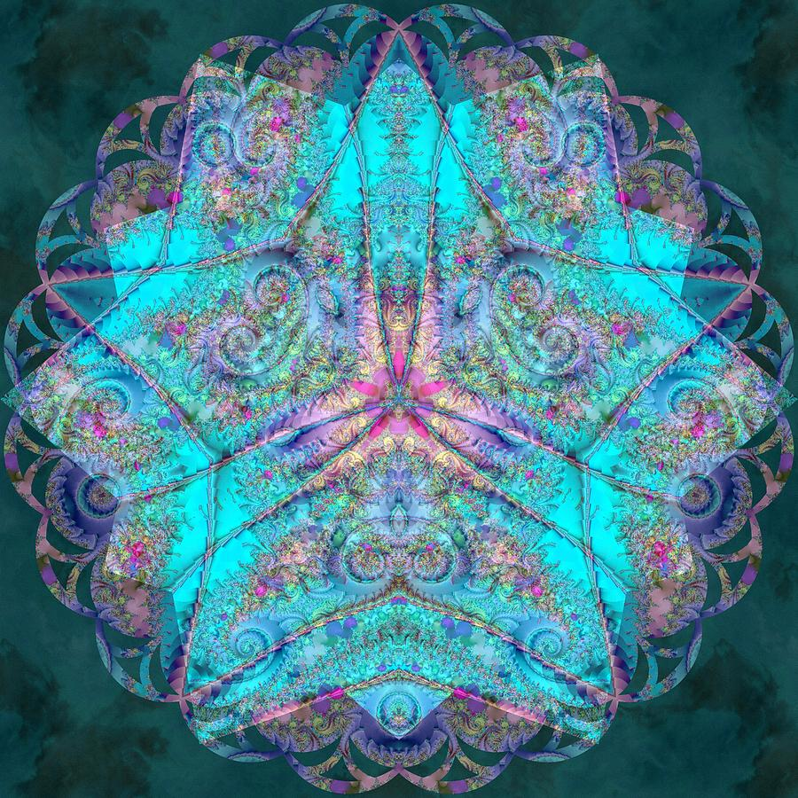 Sacred Digital Art - Teal Starfish by Derek Gedney