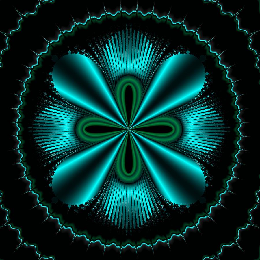 Mandelbrot Painting - Teal Wheel Mandelbrot by Faye Symons