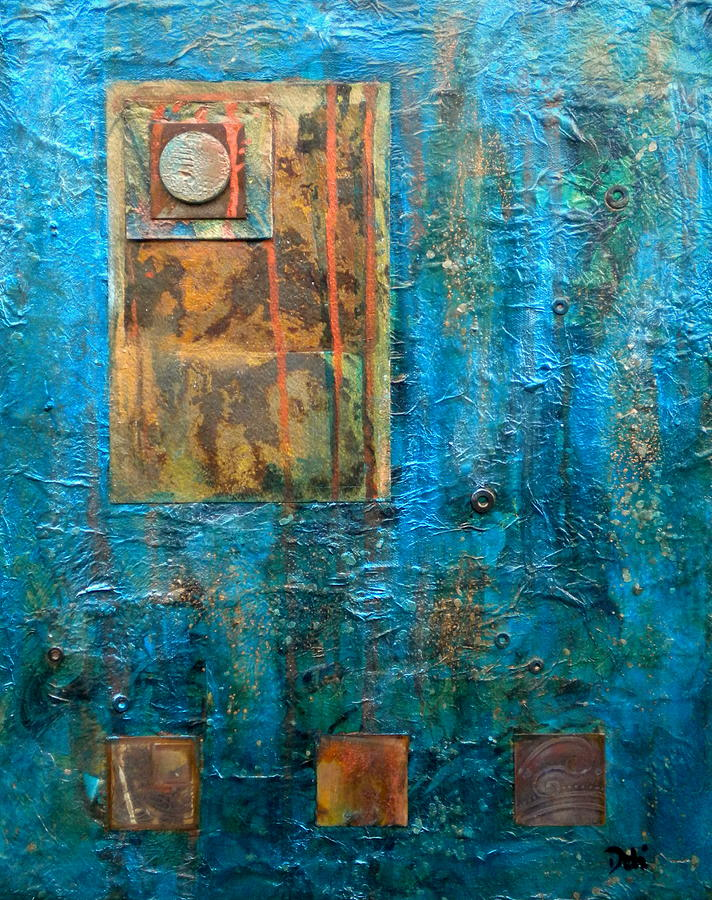 Abstract Painting - Teal Windows by Debi Starr