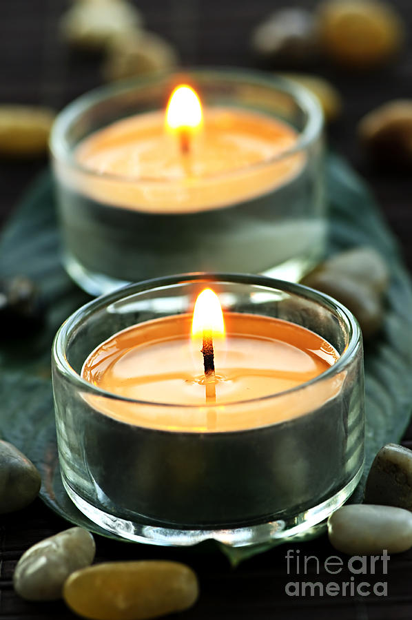 Candles Photograph - Tealights by Elena Elisseeva