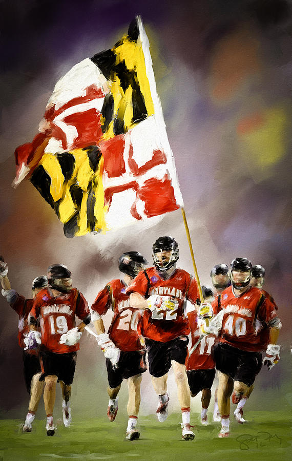 Lacrosse Painting - Team Maryland  by Scott Melby