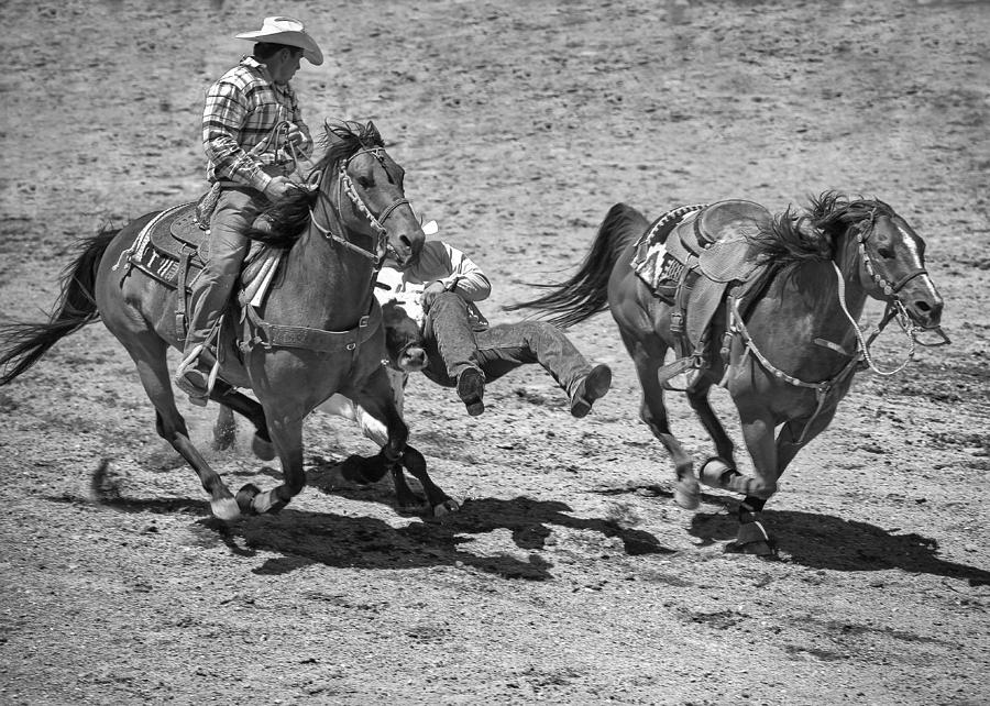 Montana Photograph - Team Roping by Dianne Arrigoni