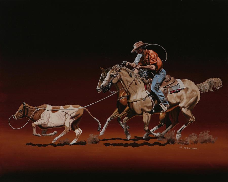Header Painting - Team Roping by Hugh Blanding