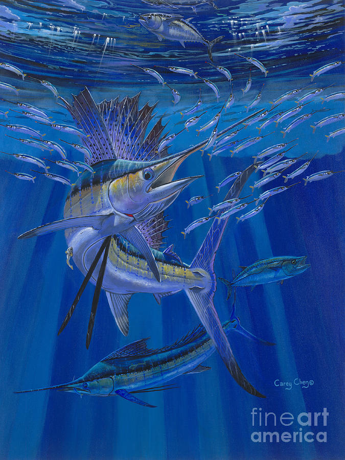 Sailfish Painting - Team Work Off0036 by Carey Chen