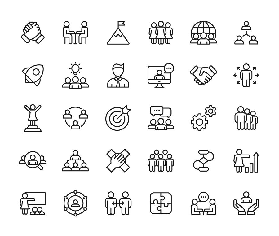 Teamwork Line Icons. Editable Stroke. Pixel Perfect. For Mobile and Web. Contains such icons as Leadership, Handshake, Recruitment, Organizational Structure, Communication. Drawing by Rambo182