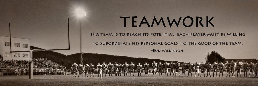 Football Photograph - Teamwork by Lori Deiter