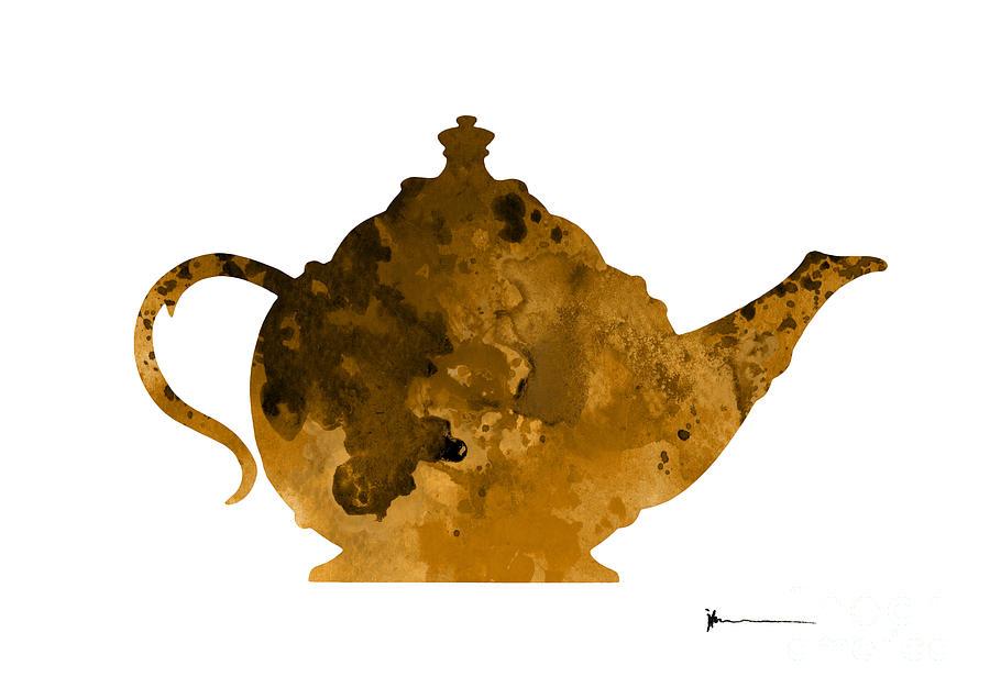Teapot Kitchen Utensils Silhouette Watercolor Art Print Painting By Joanna  Szmerdt