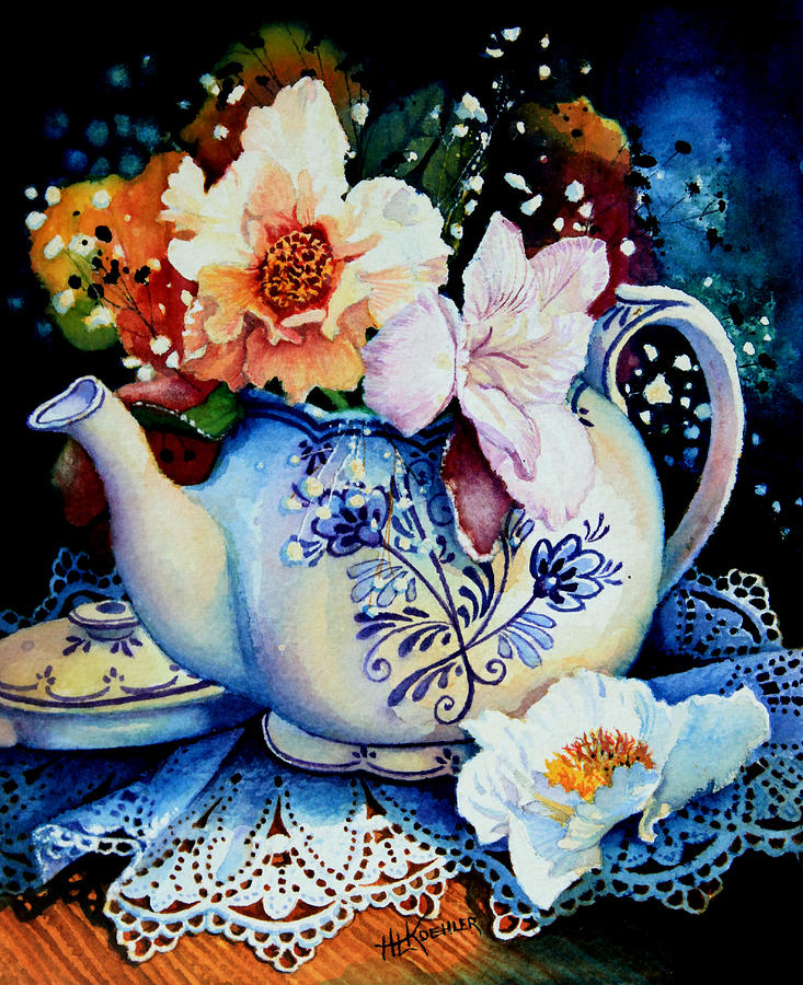 Flowers Painting - Teapot Posies And Lace by Hanne Lore Koehler