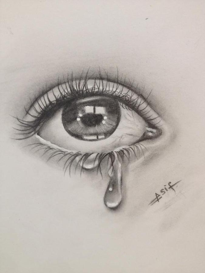 Tears Drawing by Asif Rehman