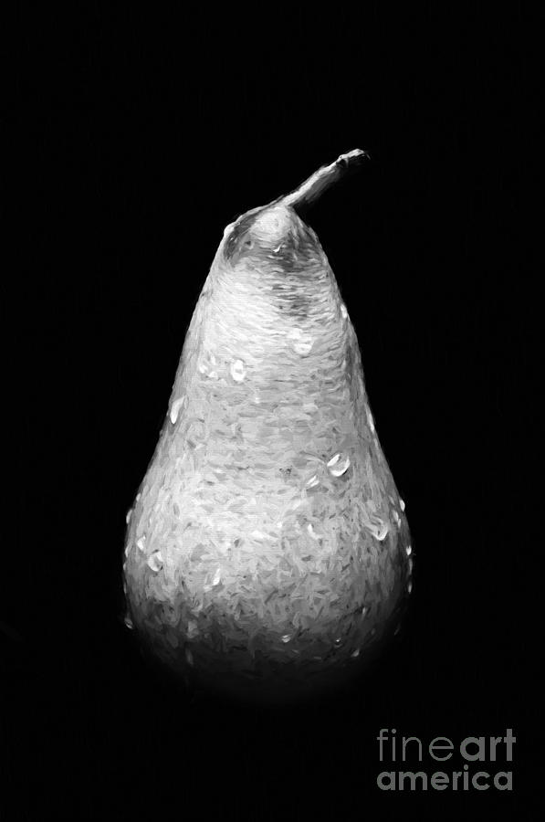 Andee Design Digital Painting Photograph - Tears Of A Sad Pear In Silver by Andee Design
