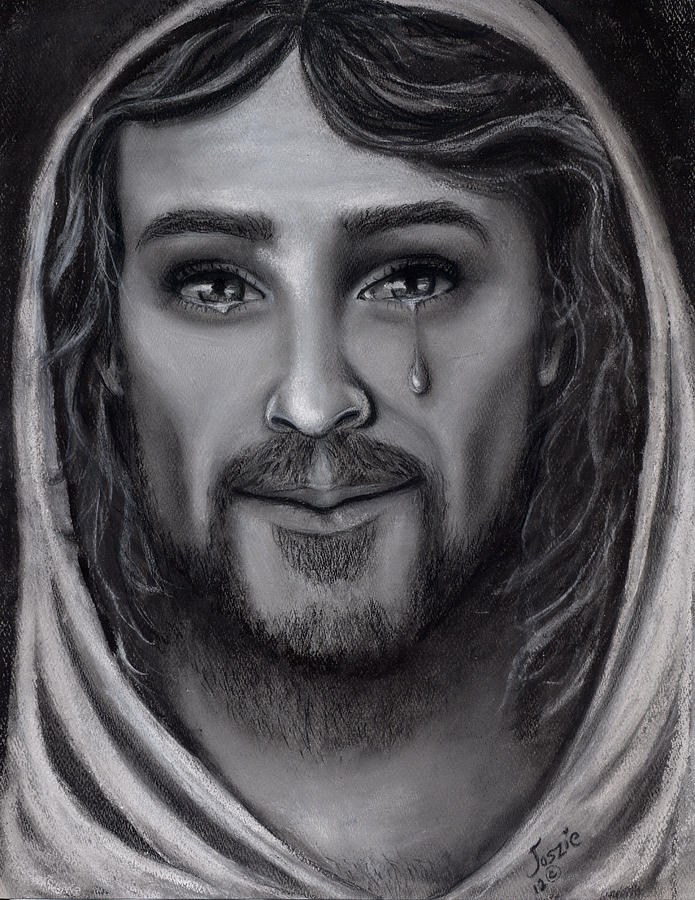Jesus Painting - Tears Of Joy by Just Joszie