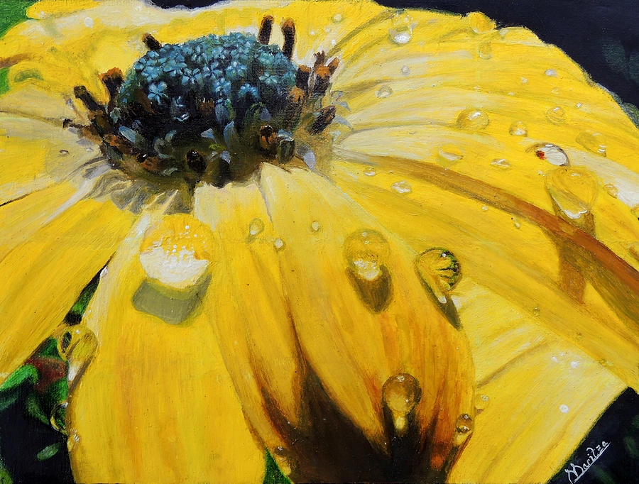 Sunflower Painting - Tears Of The Sun by Maritza Tynes