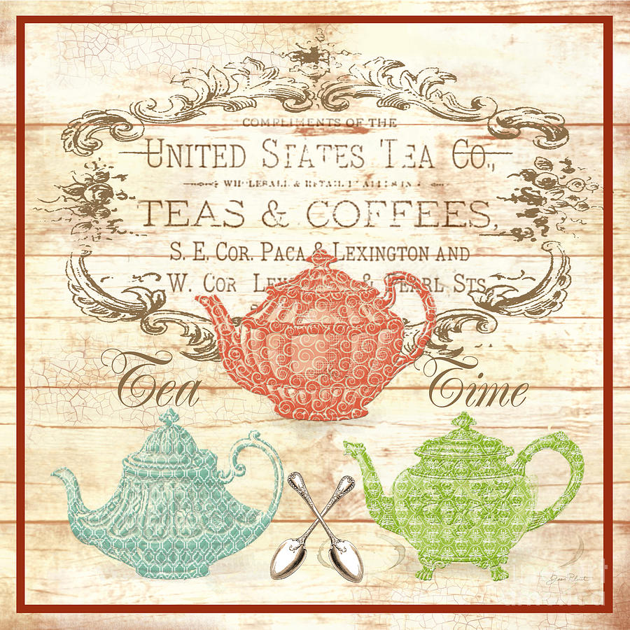 Script Digital Art - Teas And Coffees Sign by Jean Plout