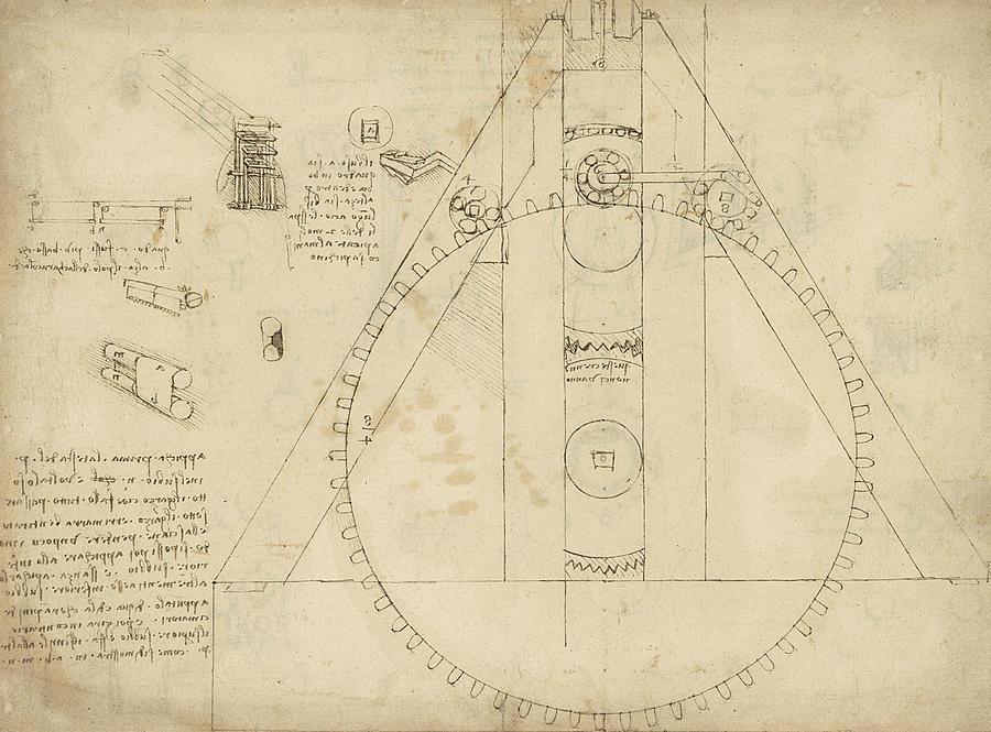 Leonardo Drawing - Teaseling Machine From Atlantic Codex by Leonardo Da Vinci