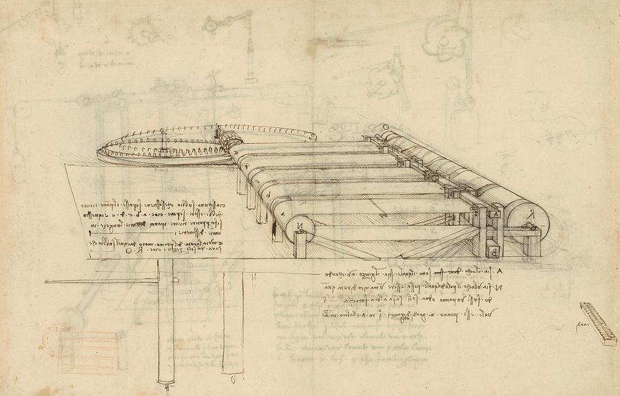 Leonardo Drawing - Teaselling Machine To Manufacture Plush Fabric From Atlantic Codex  by Leonardo Da Vinci