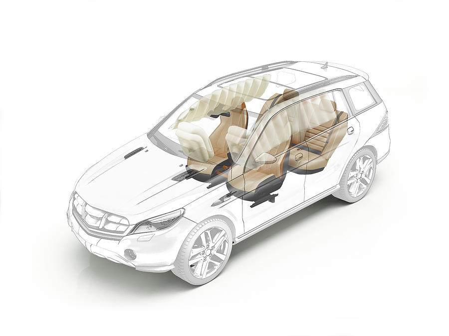 Nobody Photograph - Technical Drawing Of Car Seats And Airbags by Leonello Calvetti/science Photo Library