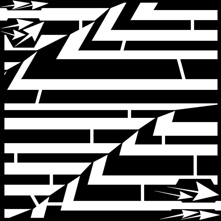 Zig-zag Drawing - Techthonic Zig-zag Maze  by Yonatan Frimer Maze Artist