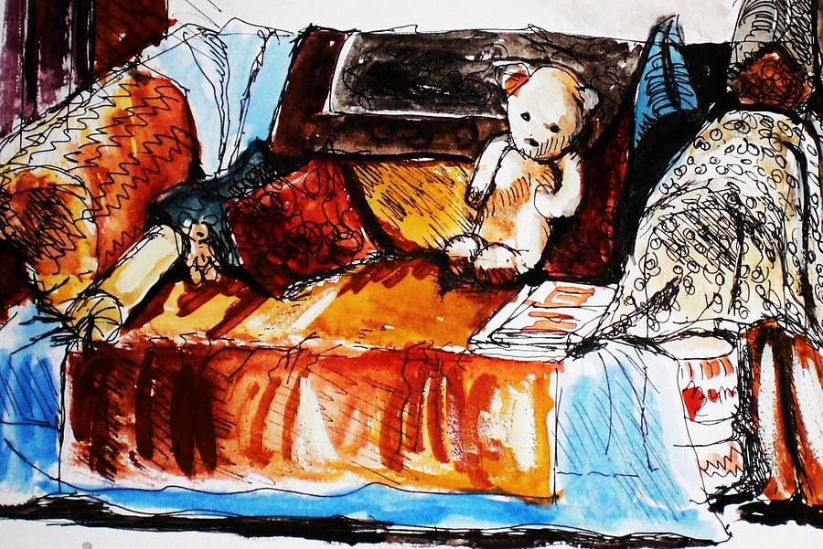 Interior Painting - Ted On The Sofa by Anne Parker