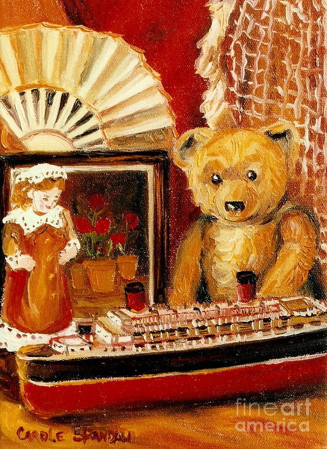 Teddy Bear Painting - Teddy Bear With Tugboat Doll And Fan Childhood Memories Old Toys And Collectibles Nostalgic Scenes  by Carole Spandau