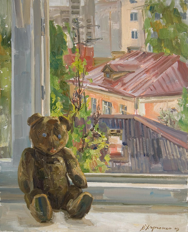 Bear Painting - Teddy With Blue Eyes by Victoria Kharchenko