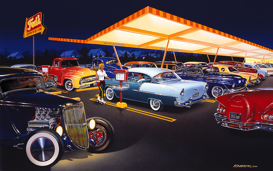 Bruce Kaiser Photograph - Teds Drive-in by MGL Meiklejohn Graphics Licensing