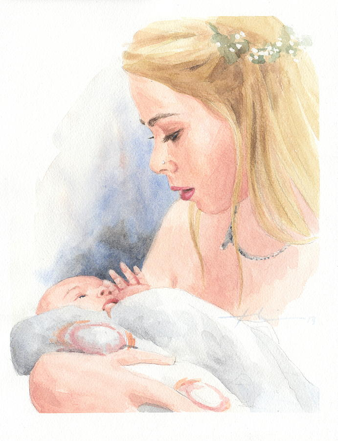 Teen And Baby Sister Watercolor Portrait Drawing by Mike Theuer