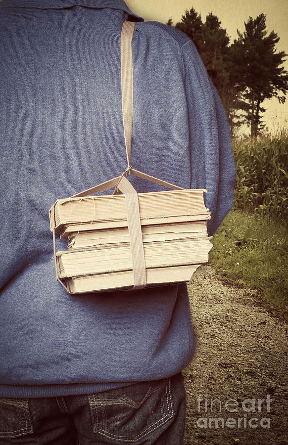 Strap Photograph - Teen Boys Back With Books by Edward Fielding