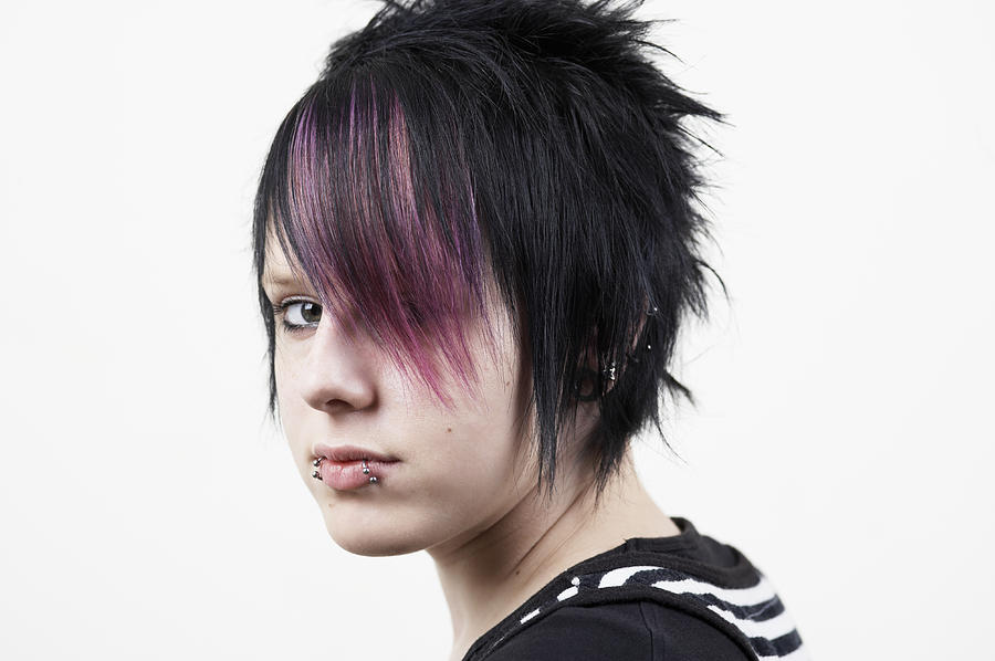 Teenage Girl (14-15) With Dyed Hair, Close-up, Portrait Photograph by Lilly Roadstones