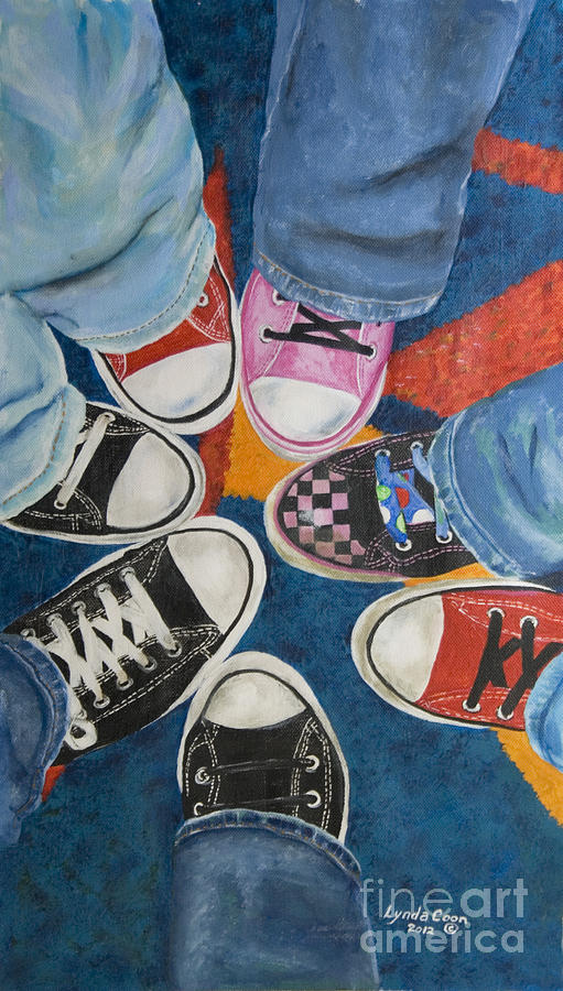 55b06c66754c Acrylic Painting Painting - Teens In Converse Tennies by Lynda Coon