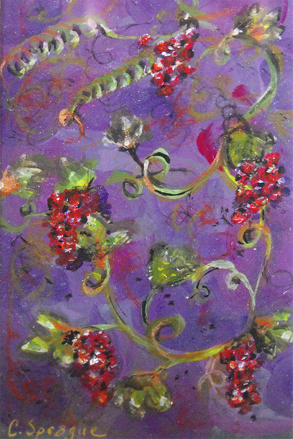 Grapes Painting - Teeny Tiny Pinot Party by Catherine Sprague