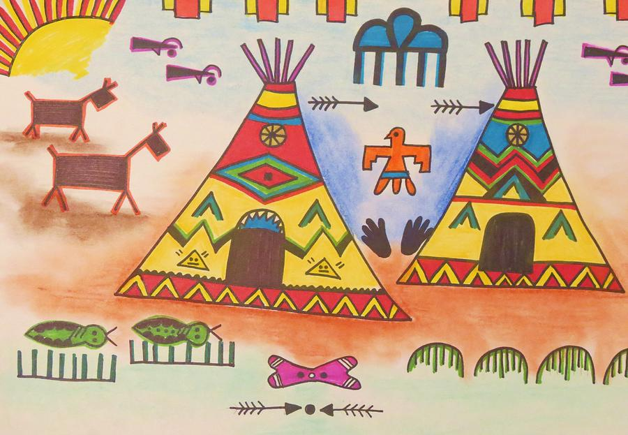 Teepee With Lucky Symbols Drawing By Vijay Sharon Govender