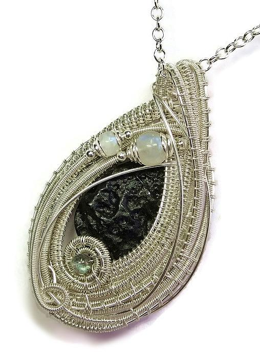 Tektite Meteorite Impactite Pendant In Sterling Silver With