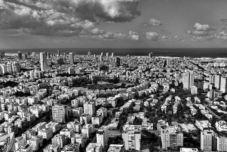 Israel Photograph - Tel Aviv Center Black And White by Ron Shoshani