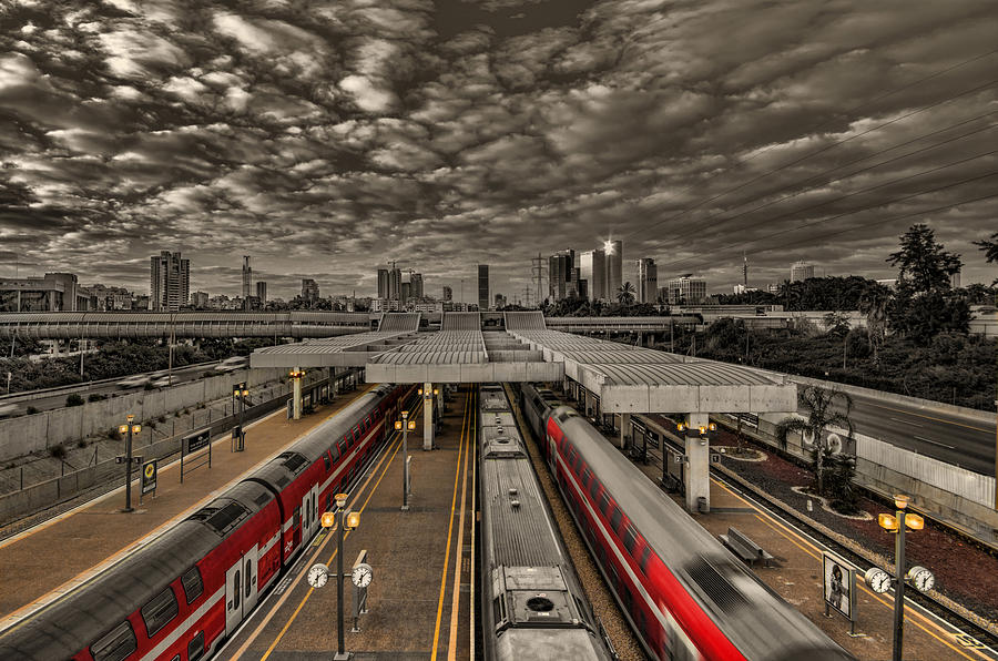 Israel Photograph - Tel Aviv central railway station by Ron Shoshani