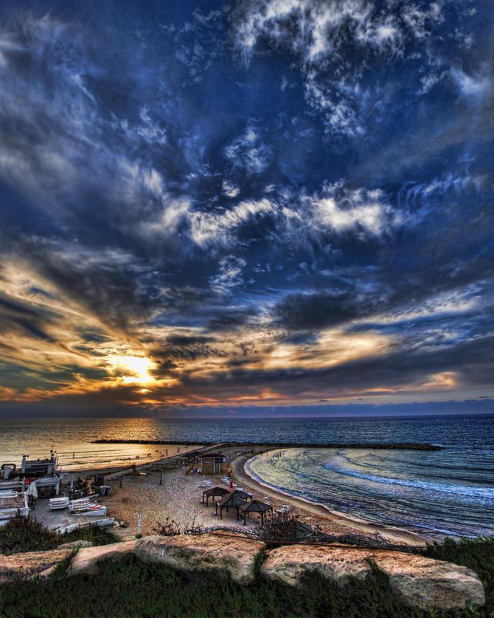 Israel Photograph - Tel Aviv Sunset At Hilton Beach by Ron Shoshani