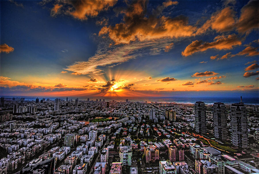 Tel Aviv sunset time by Ron Shoshani