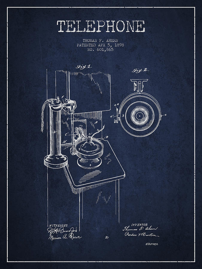 Telephone Patent Drawing From 1898 - Navy Blue Digital Art