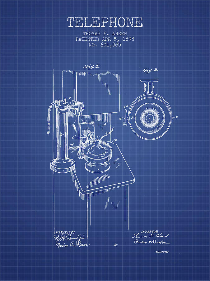 Telephone patent from 1898 blueprint digital art by aged pixel telephone digital art telephone patent from 1898 blueprint by aged pixel malvernweather Choice Image