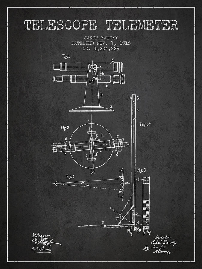 Telescope Digital Art - Telescope Telemeter Patent From 1916 - Charcoal by Aged Pixel