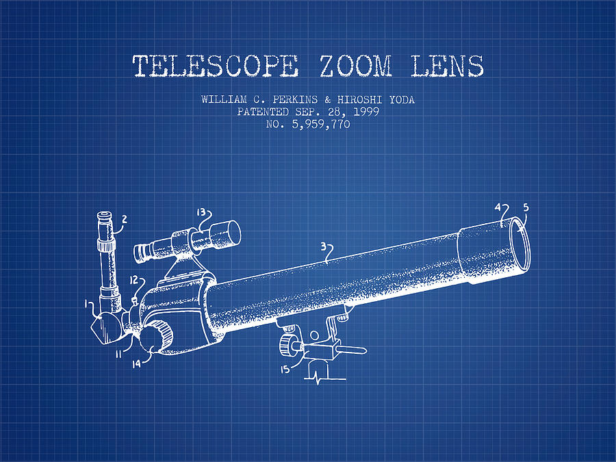 Telescope Digital Art - Telescope Zoom Lens Patent From 1999 - Blueprint by Aged Pixel