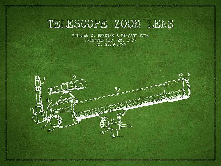 Telescope Digital Art - Telescope Zoom Lens Patent From 1999 - Green by Aged Pixel