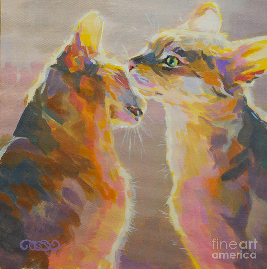 Kitties Painting - Telling Secrets by Kimberly Santini