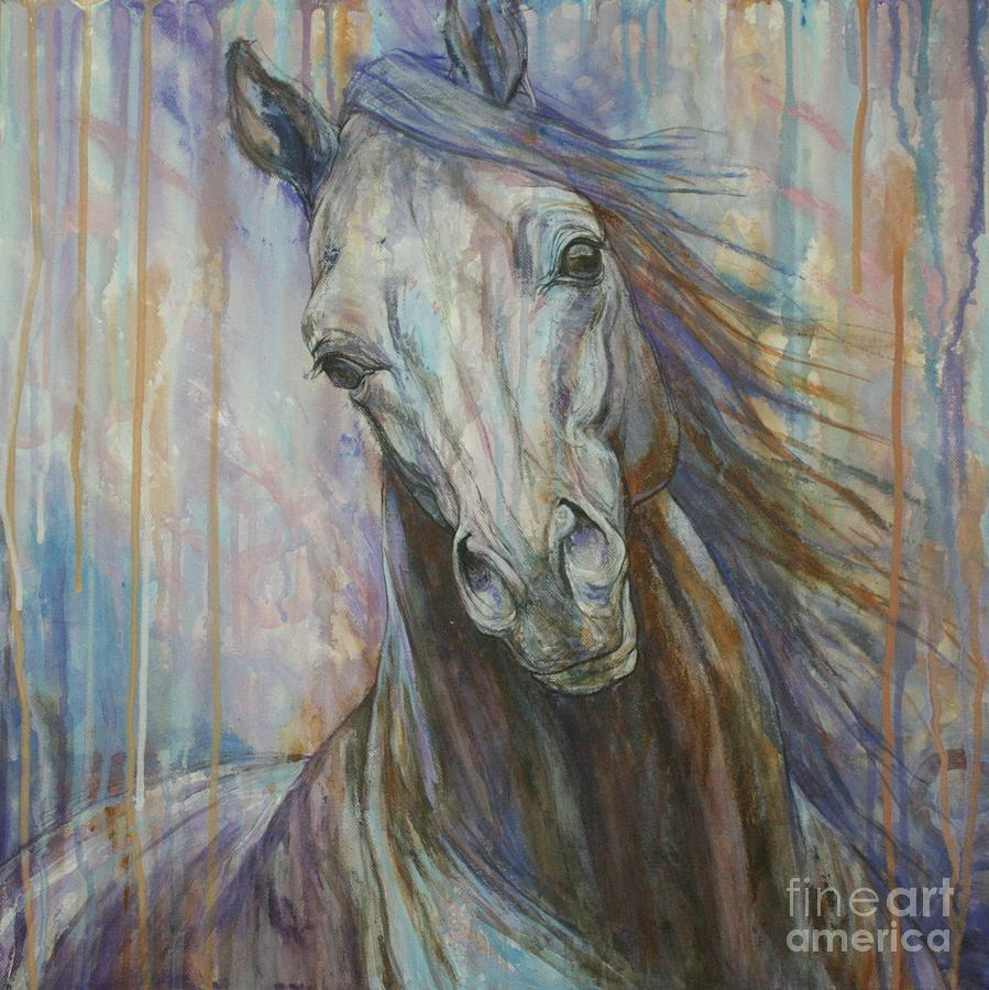 Horse Painting - Tempest by Silvana Gabudean Dobre