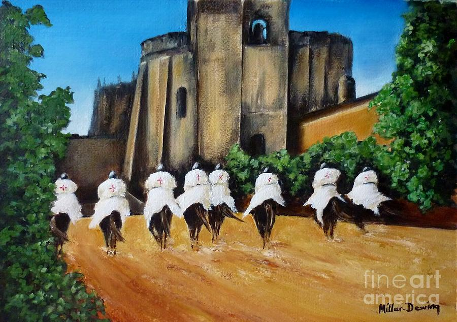 Knights Painting - Templar Knights And The Convent Of Christ by Kaye Miller-Dewing