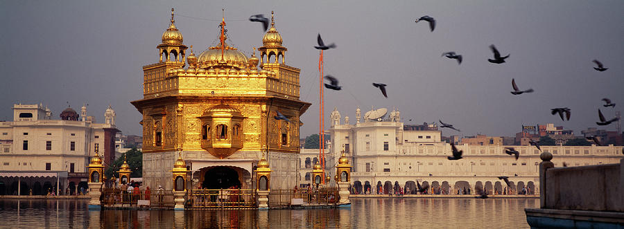 Horizontal Photograph - Temple At The Waterfront, Golden by Animal Images
