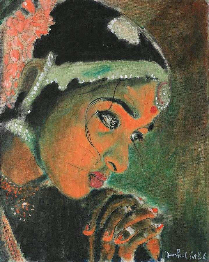 Woman Painting - Temple Dancer by Jean-Paul Setlak